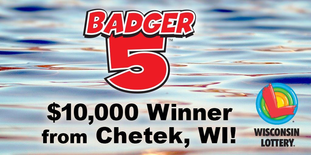 Congratulations to yesterday&#39;s $10,000 #Badger5 #winner who purchased their #lucky ticket at the @KwikTrip in Chetek! @ChetekAlert<br>http://pic.twitter.com/QGwjBodF0G