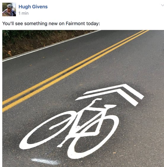 Pretty cool that @PBOTinfo has installed sharrows on Fairmont — a popular road around Council Crest up in West Hills https://t.co/J4ABx8KYFY