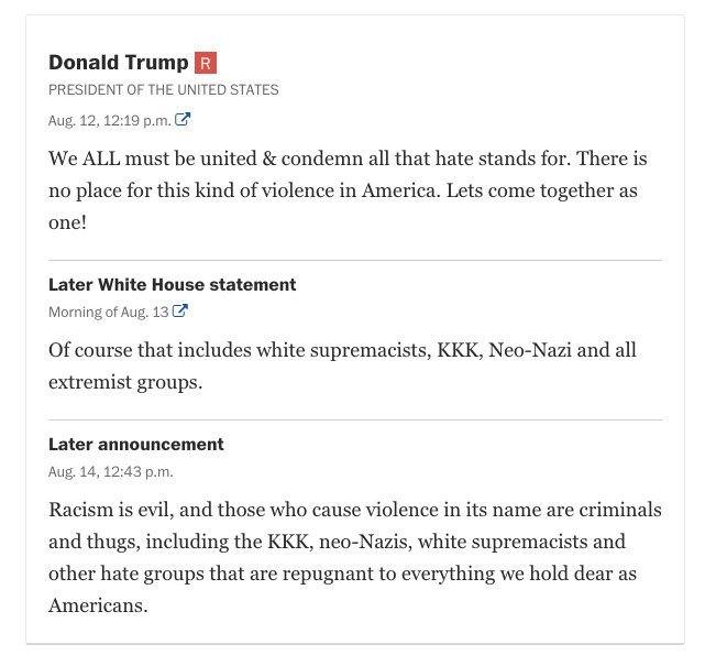 Trump denounced white supremacists –48 hours after his original statement. Here's how other politicians reacted: https://t.co/gbkVubLILq