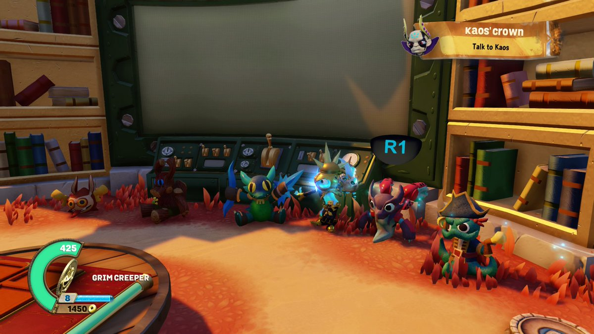 A lineup of in-game toys representing many of the collectible characters