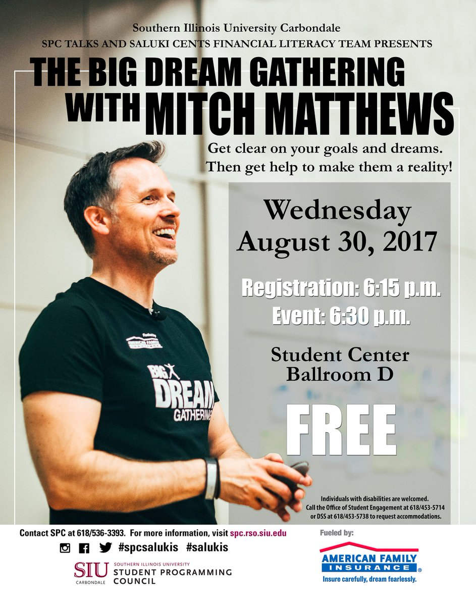 We&#39;re so pumped to visit Southern Illinois University on Wednesday, August 30th! #dreamfearlessly #dreambigger @SIUfinaid @SIUStudentCen<br>http://pic.twitter.com/wXkWTKe1xl