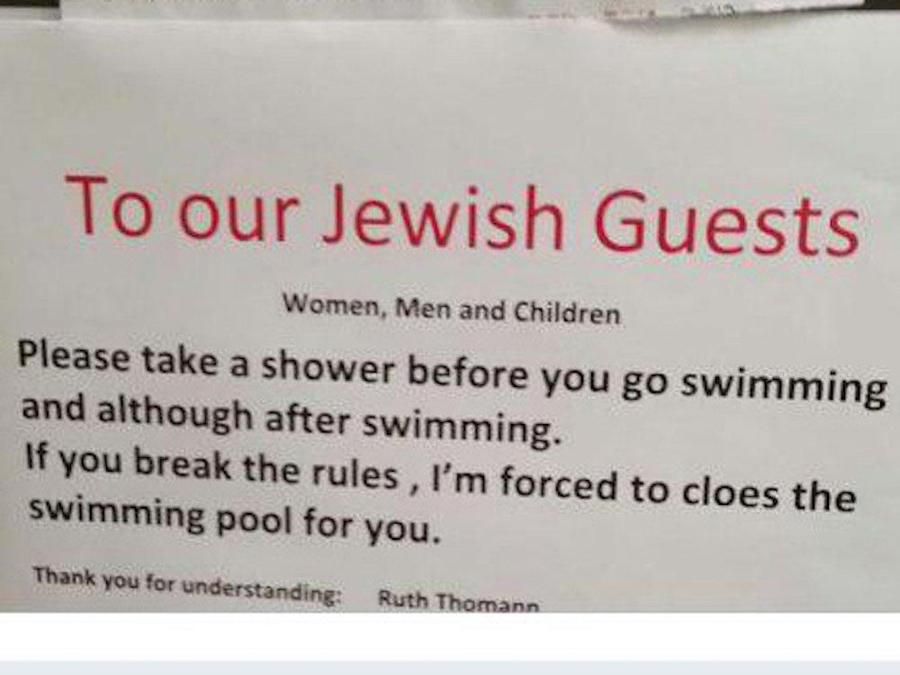 Вшвейцарском отеле запретили гостям-евреям плавать вбассейне без посещения душа