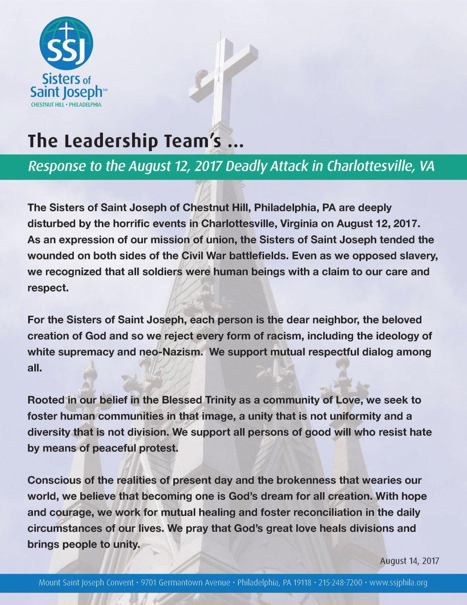 Sisters Saint Joseph On Twitter Ssj Leadership Teams Response To