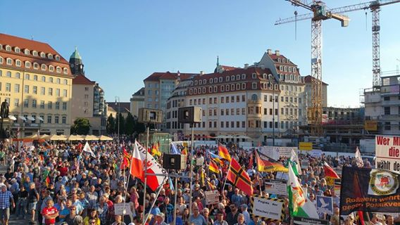 German patriots stand up this Monday evening at Neumarkt in Dresden against Merkel and the establishment. #DefendEurope #svpol #MAGA<br>http://pic.twitter.com/8y6mJQsSF5