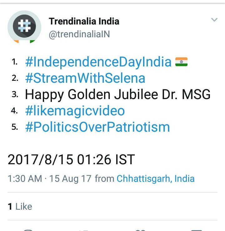 Even People of Pakistan celebrating #Fathersday  #IndependenceDayIndia  trending on Top in both country  Jai Hind <br>http://pic.twitter.com/6azG6DWHuT