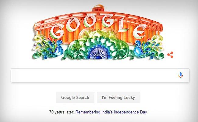 #IndiaAt70 | Tricolor #GoogleDoodle to celebrate 70 years #IndependenceDayIndia @GoogleDoodles  http://www. ndtv.com/india-news/tri -color-google-doodle-to-celebrate-70-years-of-indian-independence-1737707 &nbsp; … <br>http://pic.twitter.com/xTUYwoAVb0