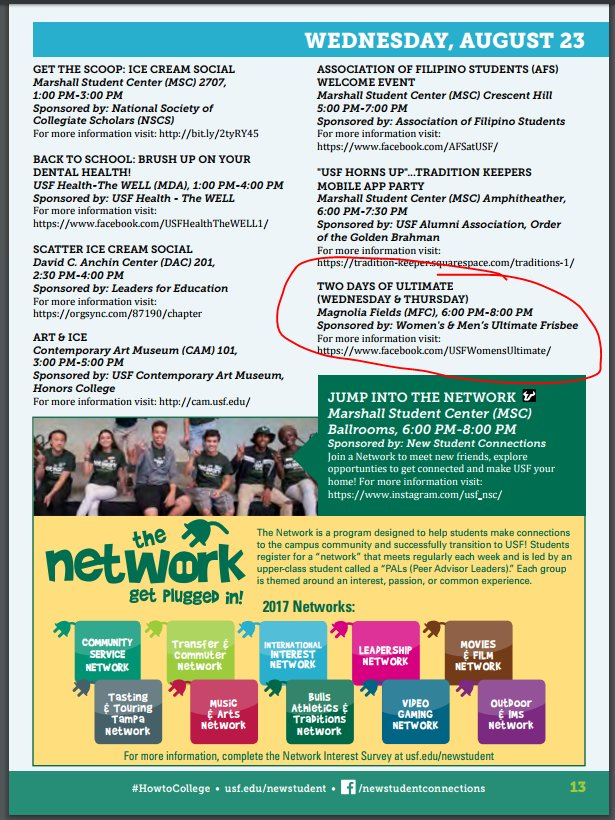 We made it into the Week of Welcome brochure! Join us Aug 23 &amp; 24 #legitimacy #TwoDaysofUltimate<br>http://pic.twitter.com/91BwT4dF7P