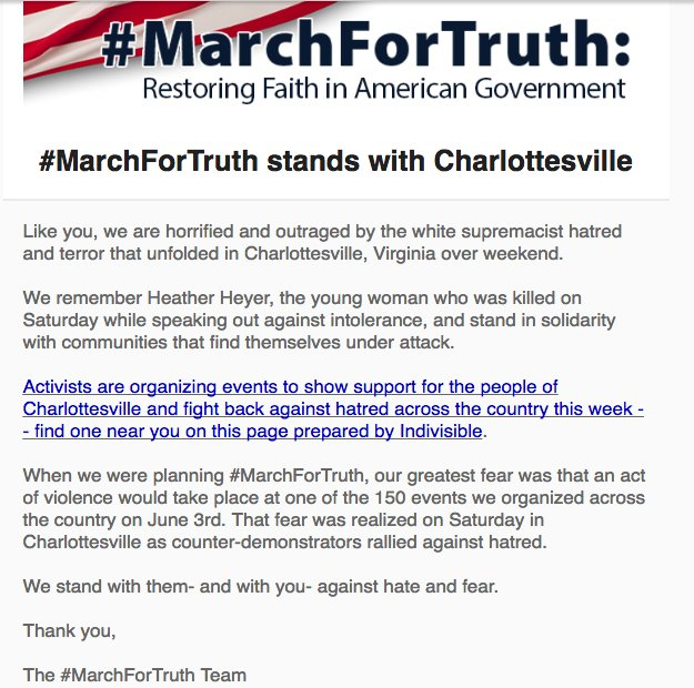 #MarchForTruth statement on #Charlottesville   Here&#39;s the link to register your event.   http:// act.indivisibleguide.com/event/stand-in -solidarity-with-charlottesville/create/?source=marchfortruth &nbsp; … <br>http://pic.twitter.com/GjG8FwHI9q