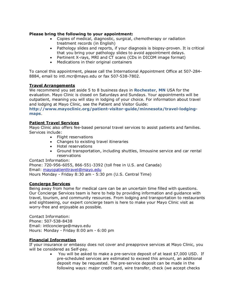 Mayo Clinic Travel Services | Joshymomo org
