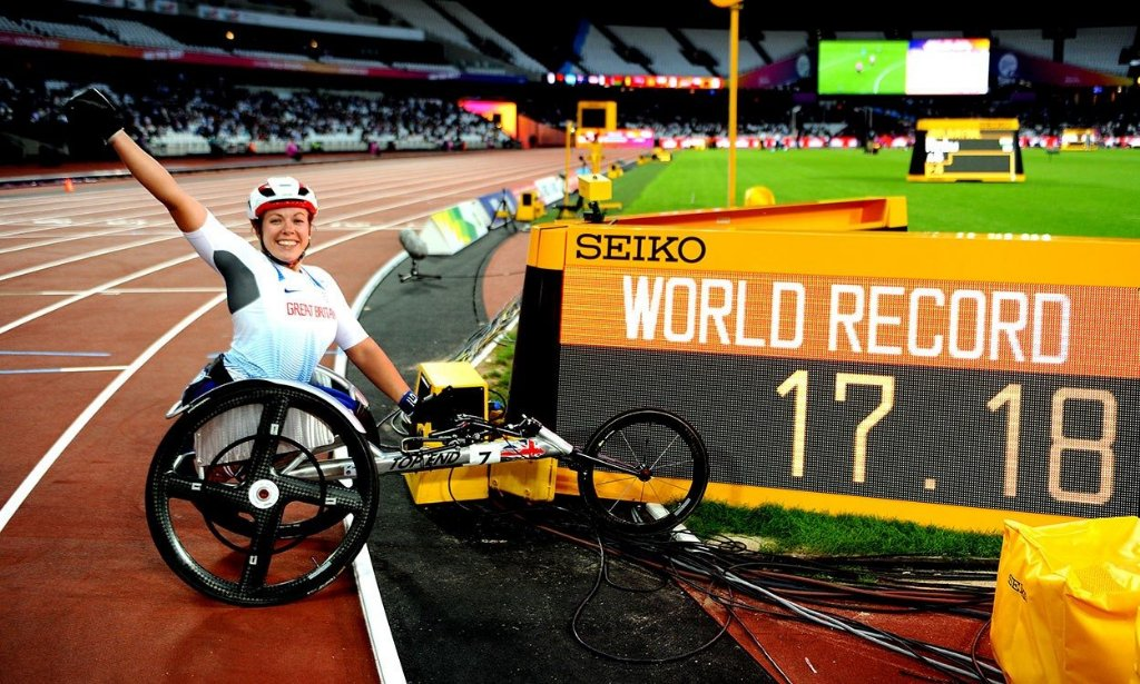 A month ago today. Retaining my 100m World Champion title for a 4th time in a new World Record time. #REPRESENT