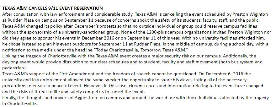 BREAKING: Texas A&M releases statement following its shut down of the White Lives Matter rally https://t.co/Ze9UYBRO27
