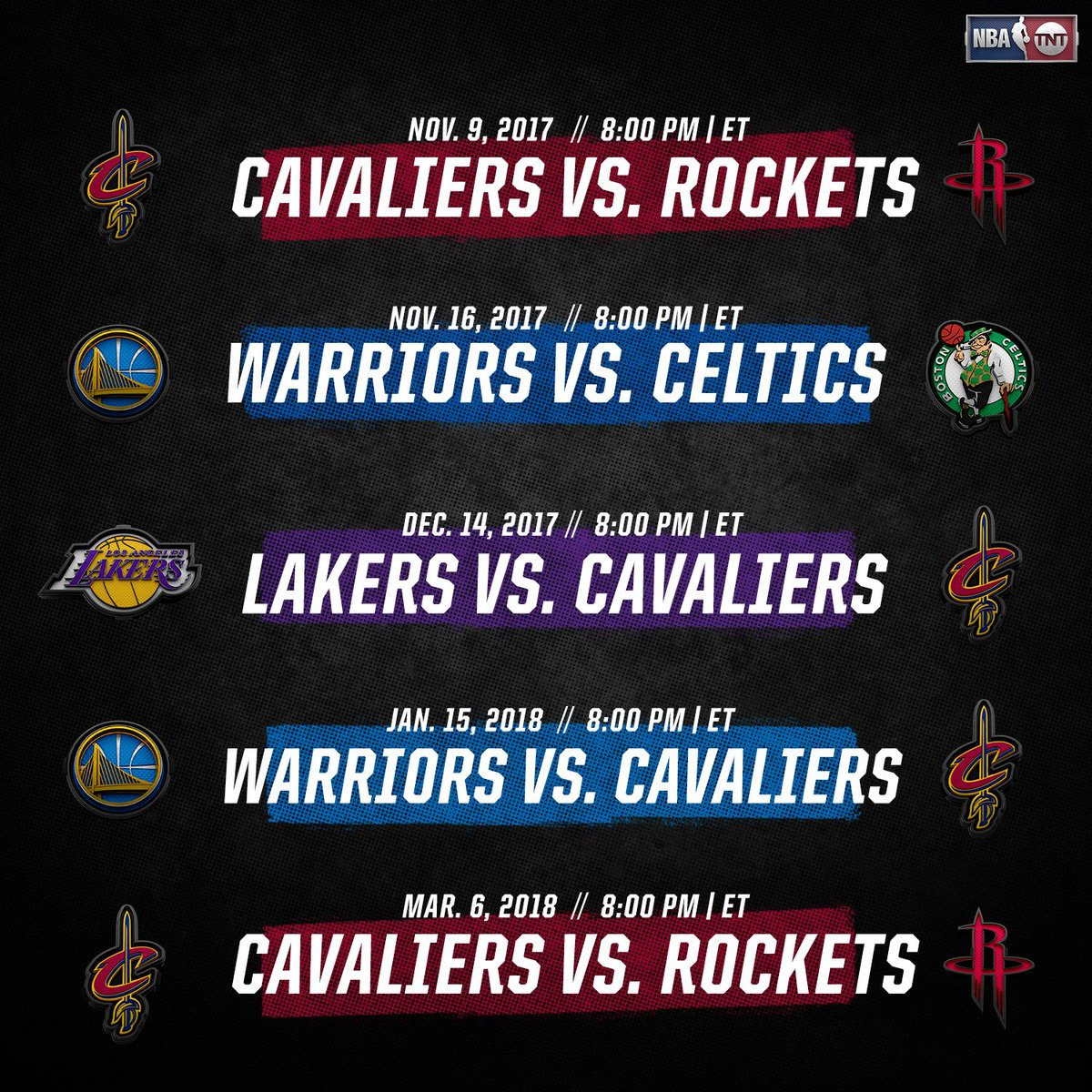 An official 👀 at the notable @NBAonTNT games coming up in the 2017-2018 @NBA season!