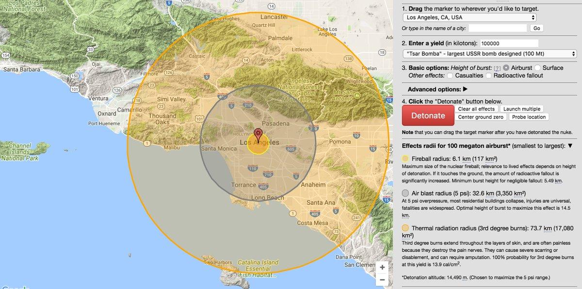 Até 80 quilômetros de distância, qualquer pessoa exposta ao clarão da bomba receberia queimaduras de terceiro grau. Em resumo, uma ogiva da Tsar Bomba devastaria completamente toda a área metropolitana de Los Angeles.
