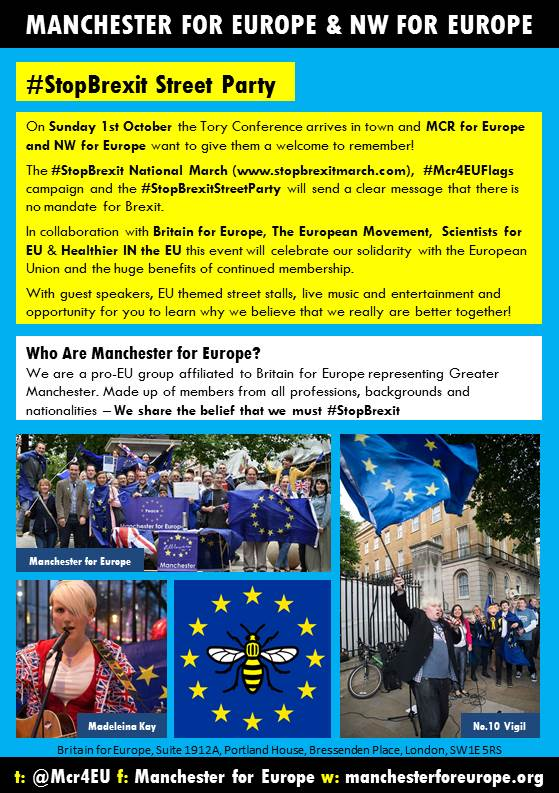We can&#39;t wait for our 1st October #StopBrexitStreetParty &amp; rally. Speakers, music &amp; entertainment #Manchester #StopBrexit #JoinUs<br>http://pic.twitter.com/WSfJxpTIw4