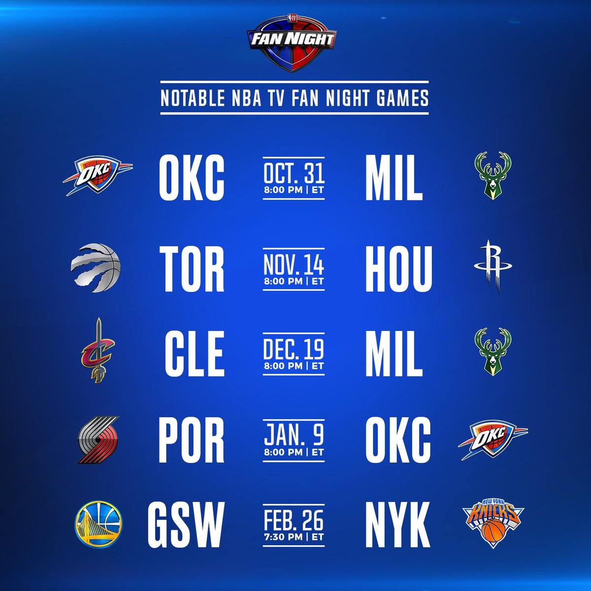 An official 👀 look at the notable #FanNight games coming your way next season on NBA TV 📺!