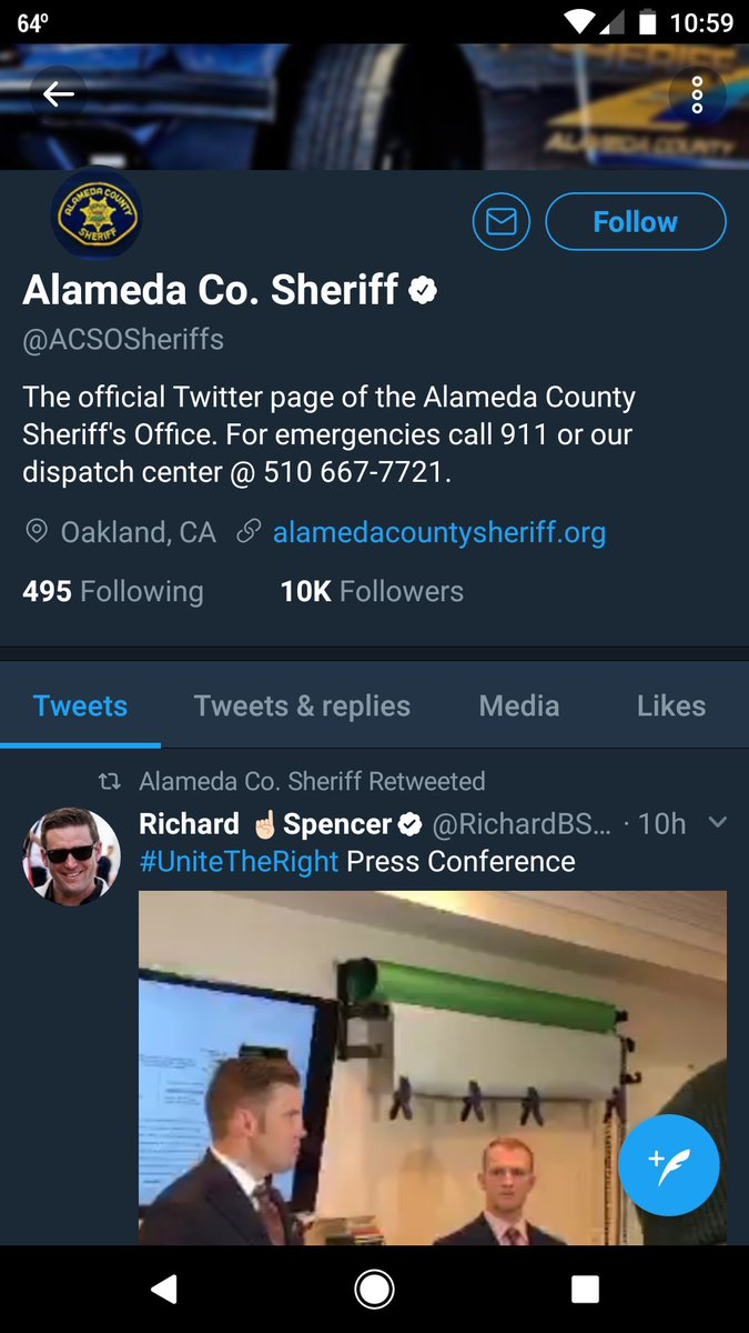 Why is Alameda County Sheriff retweeting Richard Spencer? https://t.co/SKzxLjGAGF