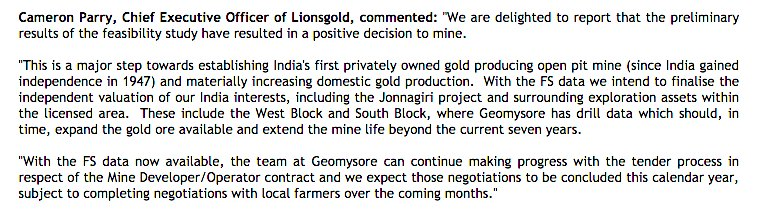 #LION @LIONSGOLDdotcom  PFS gives the green light to mine at Jonnagiri to be the first privately owned Indian #Gold mine since Independence.<br>http://pic.twitter.com/lDlk8pp9KE
