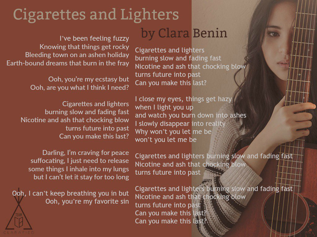 Team Clara Benin On Twitter Track No 8 Cigarettes And Lighters