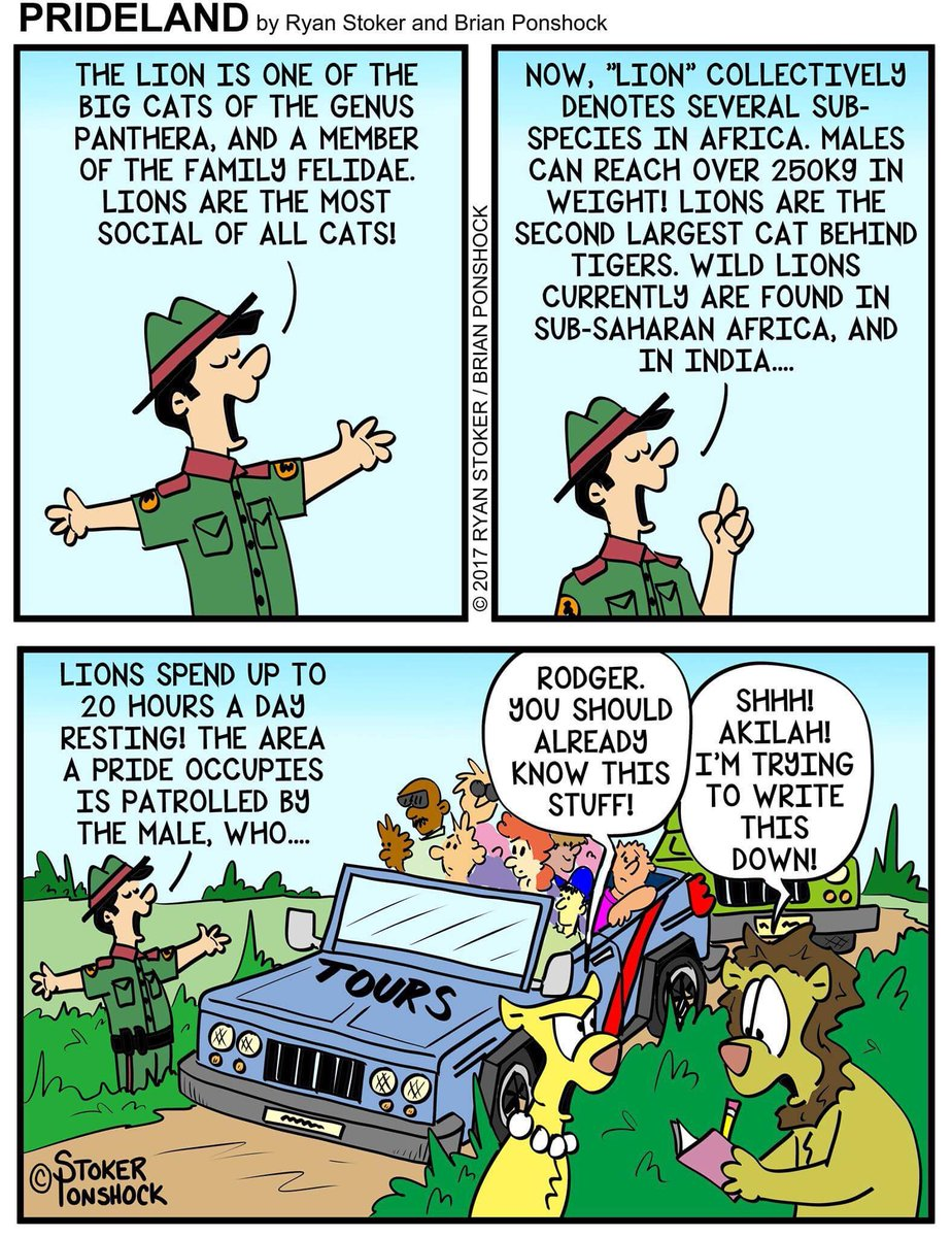 #learn all about #lions #Rodger take #notes! #Prideland #Africa #safari #tourists #Akilah #cats #webcomic #cartoon #comic #funny #funnies<br>http://pic.twitter.com/vnokZHH2Pw