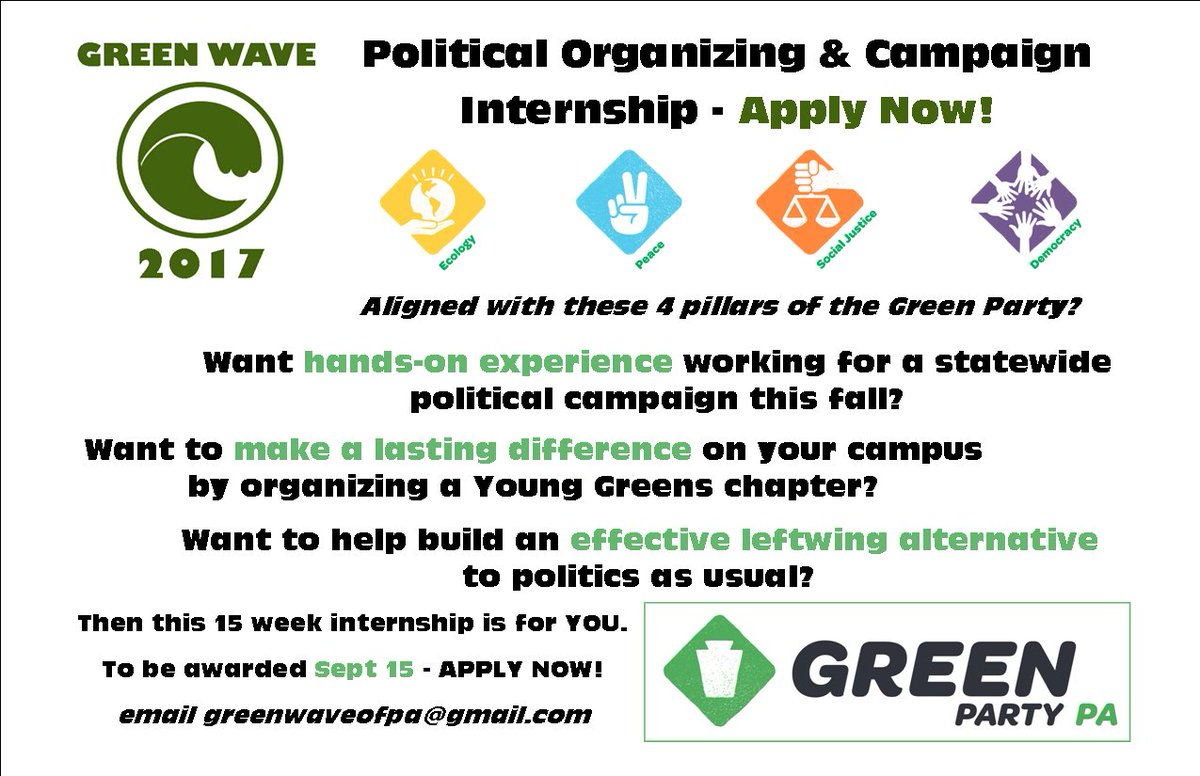 .@GreenPartyofPA internships available this fall!  Work for @Jules4Judge, found a @GPUSyouth chapter, #organize for political transformation <br>http://pic.twitter.com/Nh8WPa1wC4