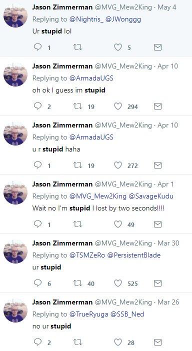 Jason Zimmerman On Twitter Ur Stupid Другие имена пользователя i am the real mew2king, not a random cs:go smurf. jason zimmerman on twitter ur stupid