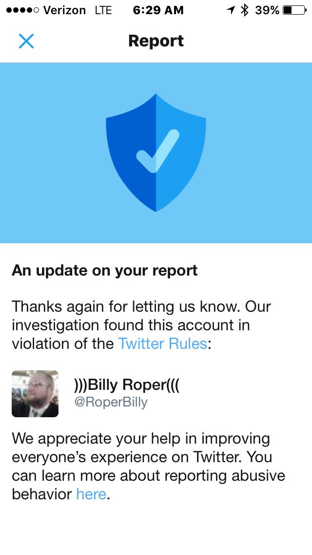 Proud Twitter moment for me. My first Nazi account takedown. He is a vile racist!! #TangoDown #OpDomesticTerrorism https://t.co/uqbeLSceMN