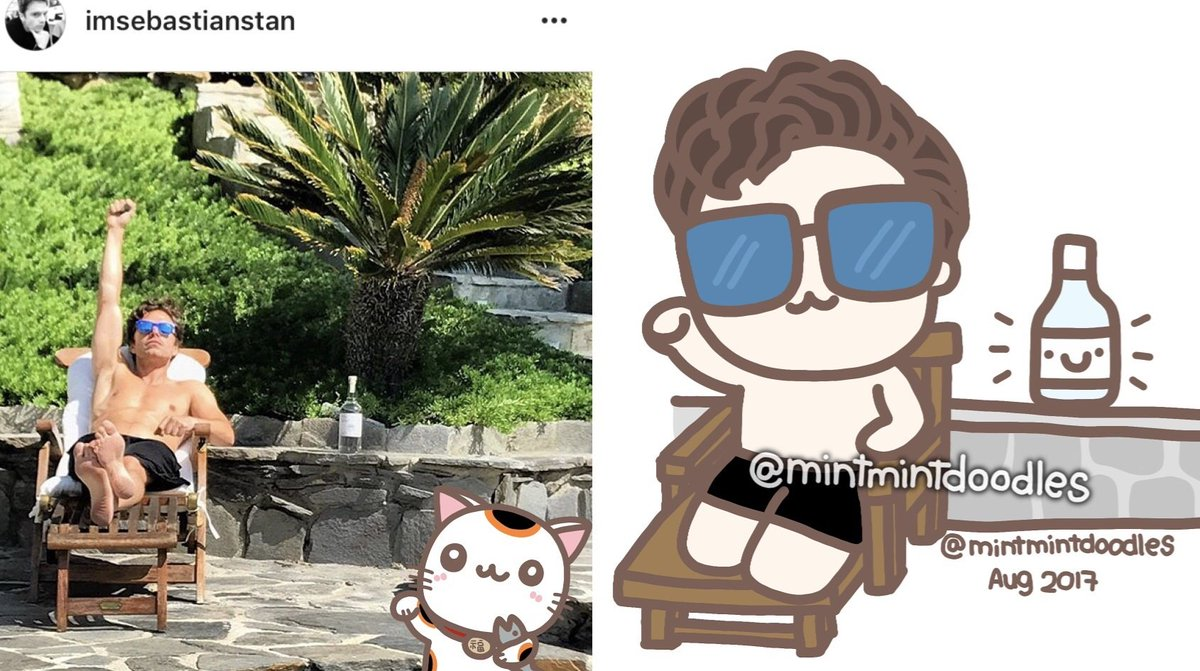 (He ended up looking more like a manekineko in the doodle. So I added that in too...!?!?)  #sebastianstan <br>http://pic.twitter.com/eGNa6pKc02
