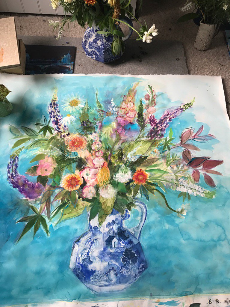 A large watercolour for a charity show later this year #summerflowers #colour #watercolour #notquitefinished! #garden<br>http://pic.twitter.com/mIHc29SjGJ