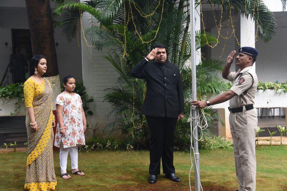Flag hoisting at 'Varsha' this morning by CM Devendra ji Fadnavis   #I...