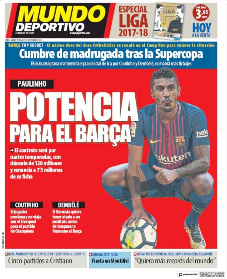 """#Paulinho recruté """"à prix d'or"""" fait débat chez les socios du #Barca. Il est le 4ème transfert le plus cher du club.pic.twitter.com/EGGmbqgG2m"""