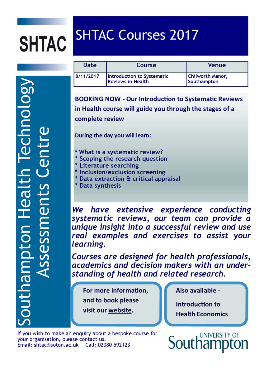 Booking now SHTAC one day Introduction to #systematicreview in health course, 8/11/17 in Southampton  https://www. southampton.ac.uk/shtac/training /index.page &nbsp; … ?<br>http://pic.twitter.com/qSKukSg8DQ