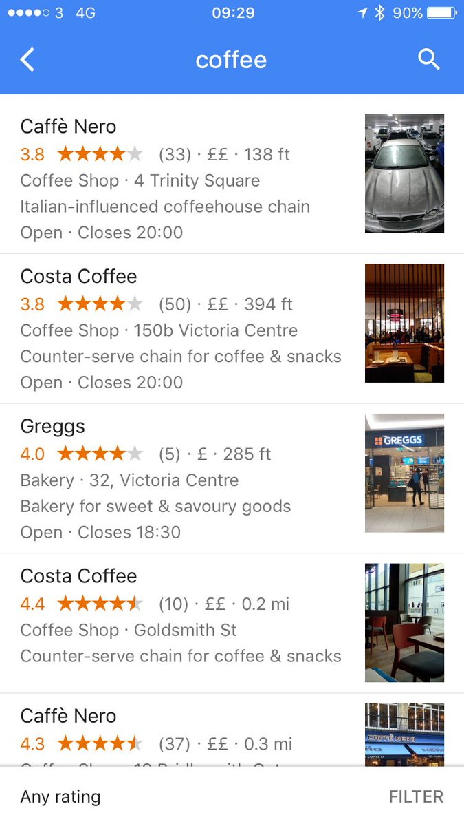 "The difference between ""coffee"" recommendations on Google and Foursquare. https://t.co/M8nyua1F90"