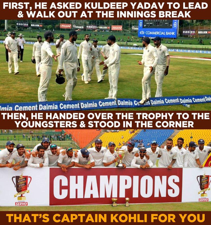 Virat Kohli turns out to be an inspirational captain. #SLvIND https://...