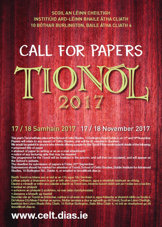 test Twitter Media - School of Celtic Studies #Tionól2017 17th & 18th Nov https://t.co/rsTbMRgYYY  Deadline for submission of papers is Friday 22nd Sept. https://t.co/rBUWFQjtsi