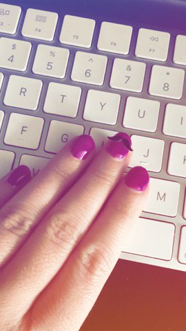 Purple Moustache Nails in our office today! #gelish #nails #moustache #designers #beauty #hampshire #berkshire<br>http://pic.twitter.com/5gHPGnKNfV