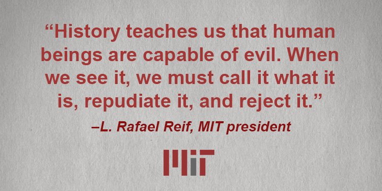 A letter to the MIT community from President Reif on the recent events at #Charlottesville: https://t.co/biMmmShBNb