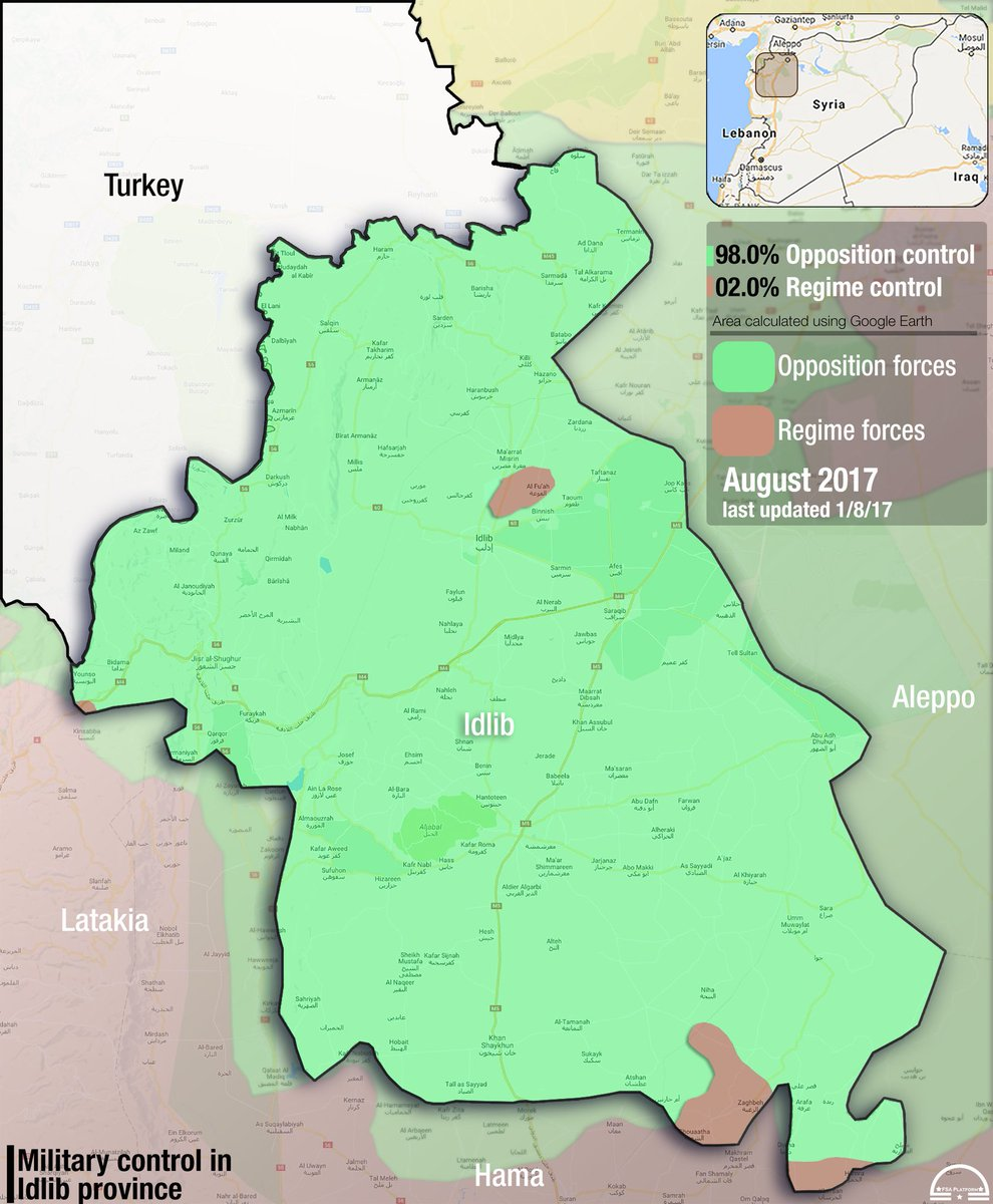 FSA News on Twitter Map Idlib Percentage control across Idlib