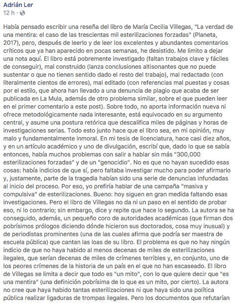 Adrián Lerner, historiador, sobre libro de Villegas https://t.co/pkU11OEX7d
