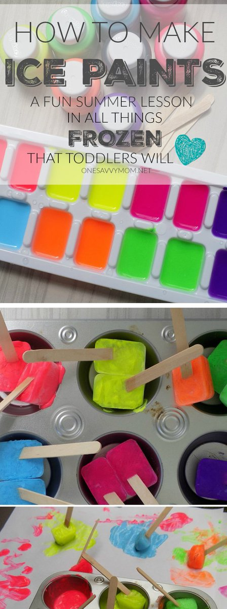 How to Make Ice Paints - A Fun Lesson In All Things Frozen that #Toddlers Love!  http://www. onesavvymom.net/2016/07/summer -toddler-craft-idea-ice-painting-how-to-make-ice-paints.html &nbsp; …  #toddlermom #motherhood #summer<br>http://pic.twitter.com/2hNLDIUnoO