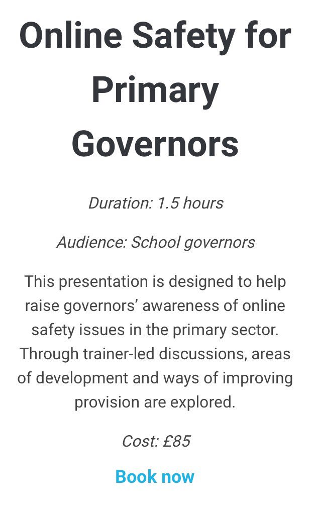Announcing our new Governors&#39; sessions for both primary and secondary schools. #onlinesafety <br>http://pic.twitter.com/BzjSHRxYBS