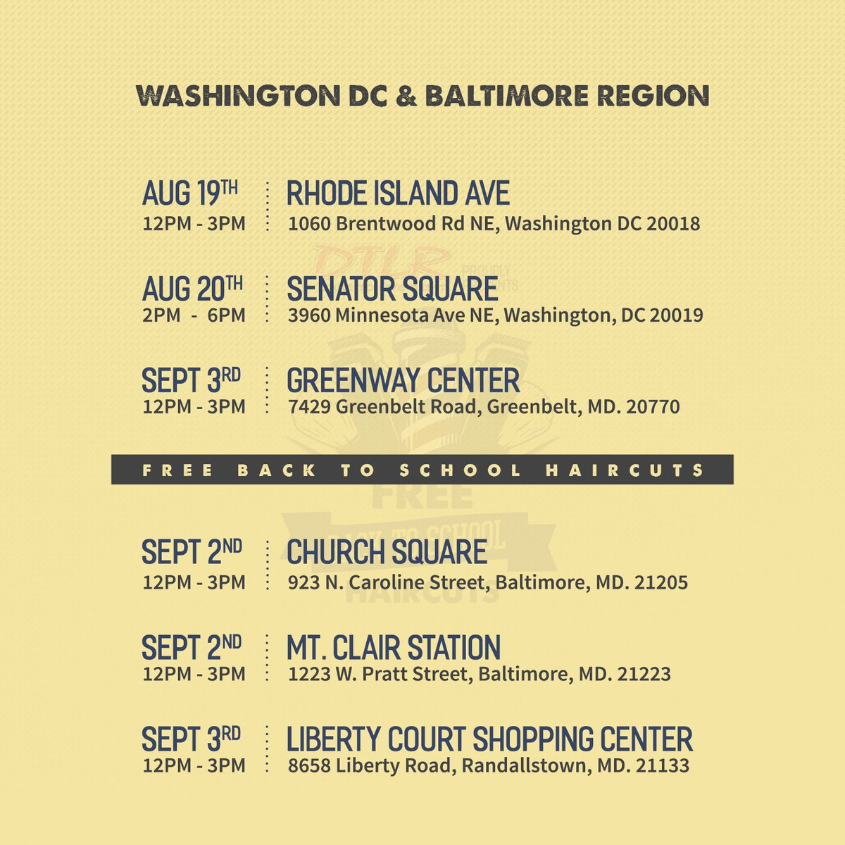 #DC & #MD Be sure to bring the kids by #DTLR for a #FREE haircut 6 Locations | 4 Dates #Daretoliveright #Back2School #Haircuts #Community https://t.co/eAa731KUny