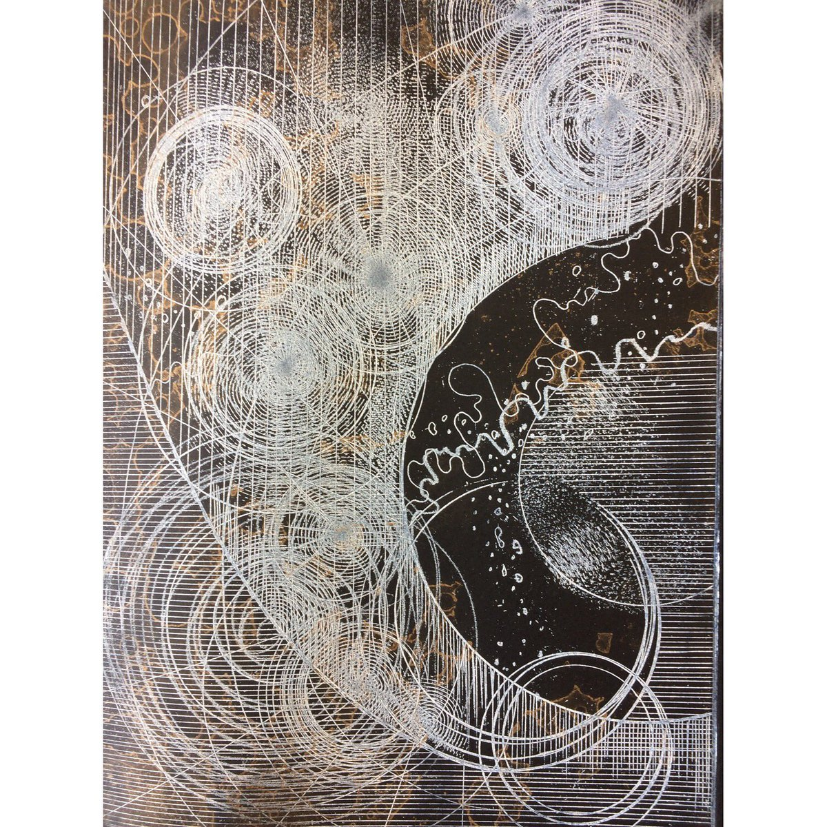 A still image of a new etching printed onto Arches Velin Noir, #black #paper #printmaking #etching #celestial #abstract #art #print #circles<br>http://pic.twitter.com/CbnHGvGA1A
