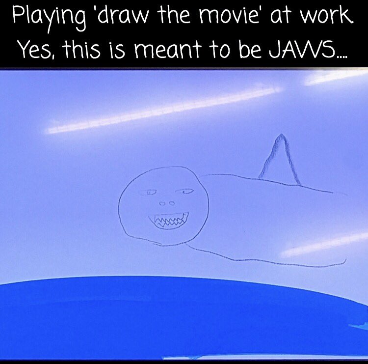 This honestly happened at my work today  Tweet us your #jaws drawings with the hashtag #DrawJaws <br>http://pic.twitter.com/gdCxi9Yj3U