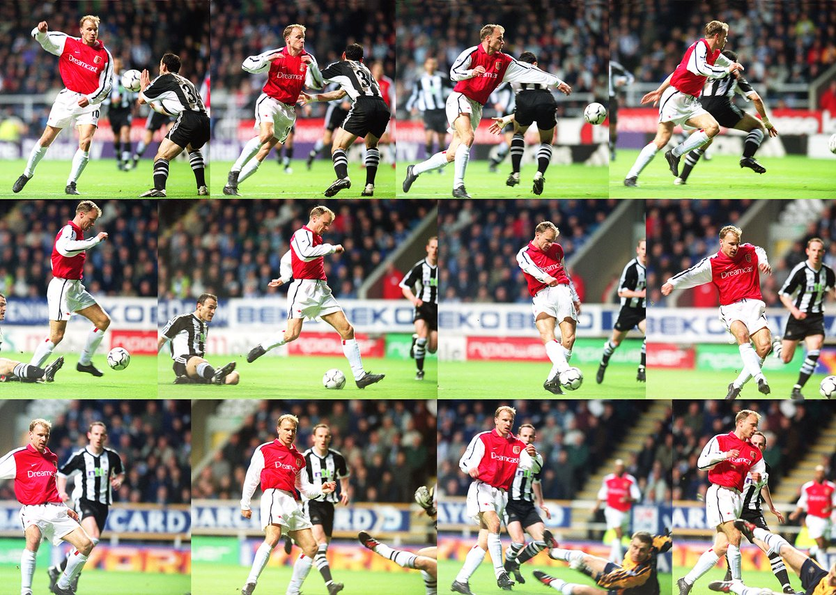 The best goal in @premierleague history, Dennis Bergkamp at Newcastle 2002. Manual focus shot on film under floodlights. #afc #Arsenal <br>http://pic.twitter.com/XmWoVuj5Oh