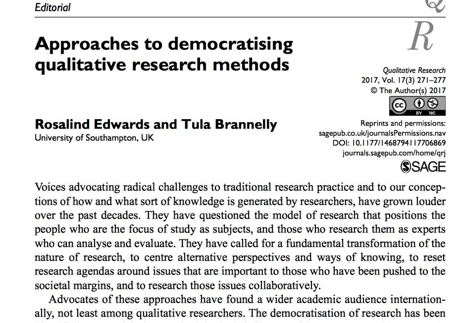Important for #researchimpact: Approaches to democratize #qualresearch by Rosalin Edwards &amp; @tulabrannelly  http:// buff.ly/2h8gvMr  &nbsp;  <br>http://pic.twitter.com/vX6yQsVIOs