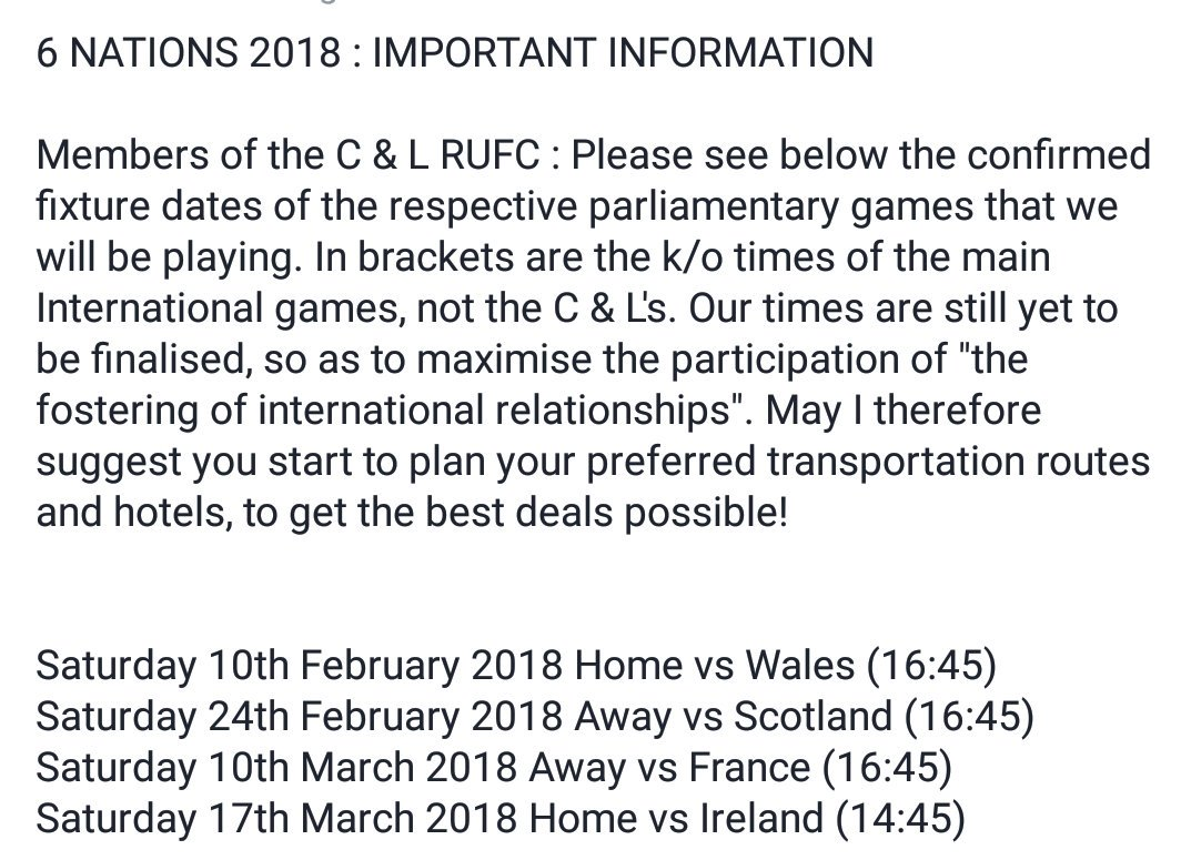 Important Fixtures Information for members and especially @UKParliament perspective players during @SixNationsRugby 2018 #RugbyFamily <br>http://pic.twitter.com/yAVXZBP2rI