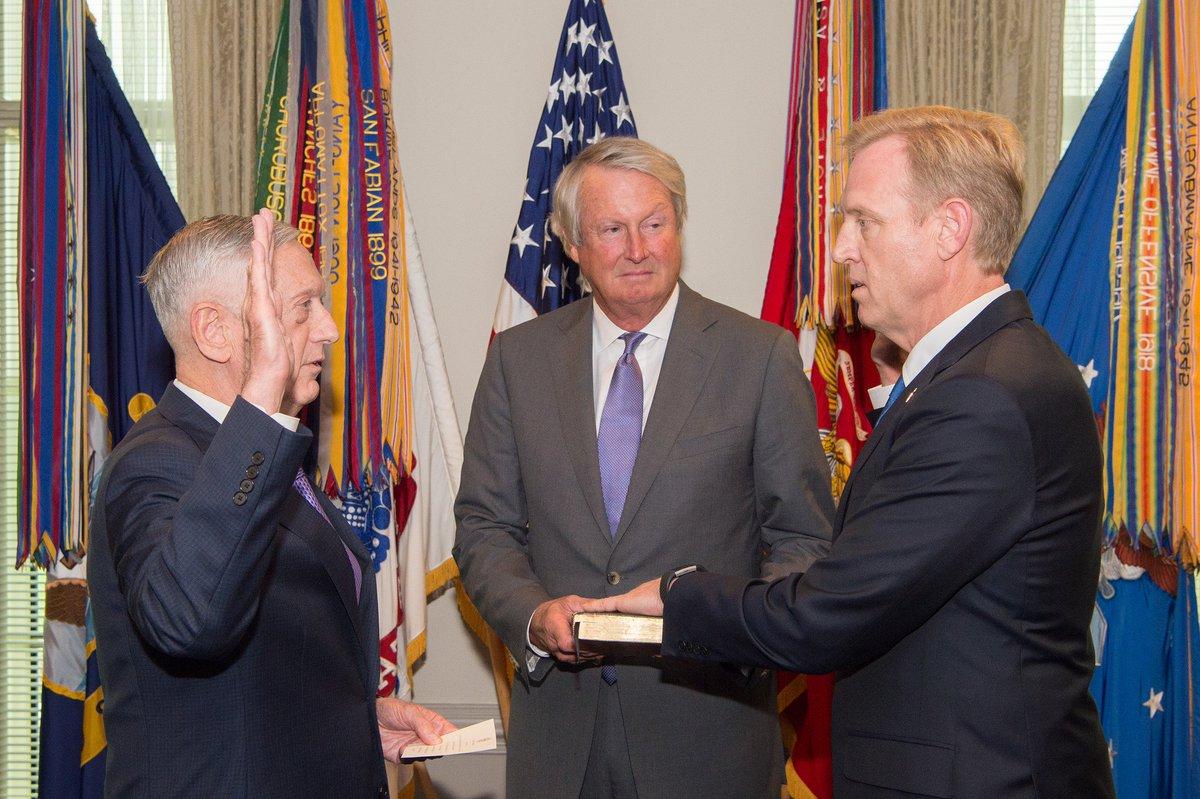 #ICYMI: Deputy Defense Secretary Pat Shanahan was formally sworn into office by #SecDef Mattis at the Pentagon, Monday. <br>http://pic.twitter.com/6U3CeDWiSU