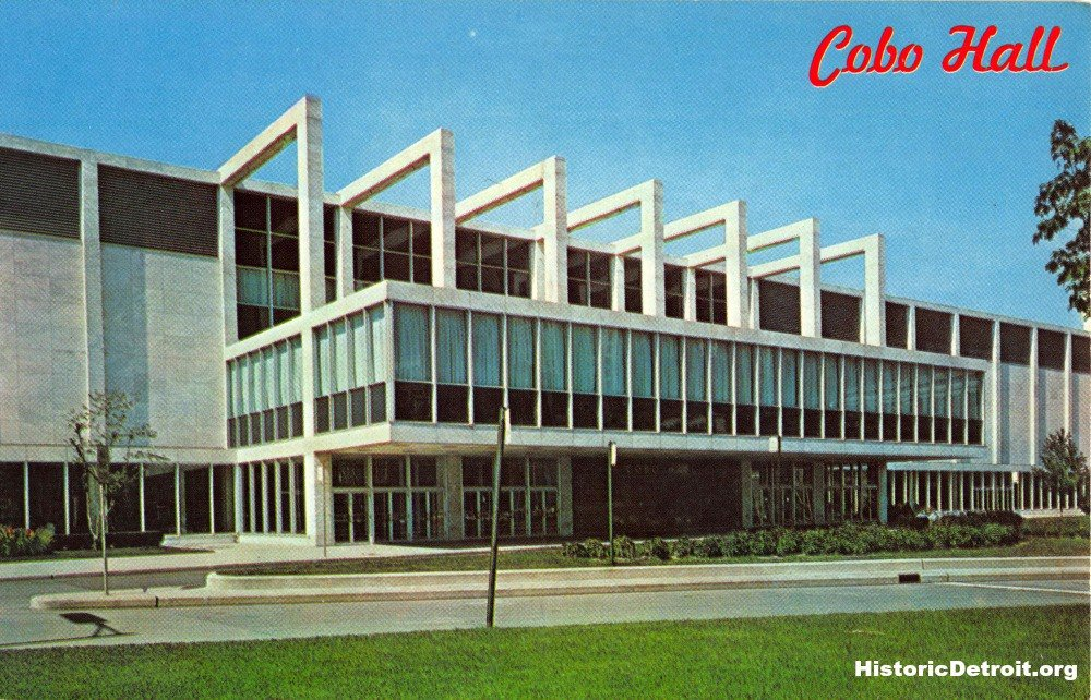 #OTD 57 years ago, @cobocenter in #Detroit officially opened. Here&#39;s a vintage postcard featuring its original look. #midcenturymodern <br>http://pic.twitter.com/F4d8rGXUsH