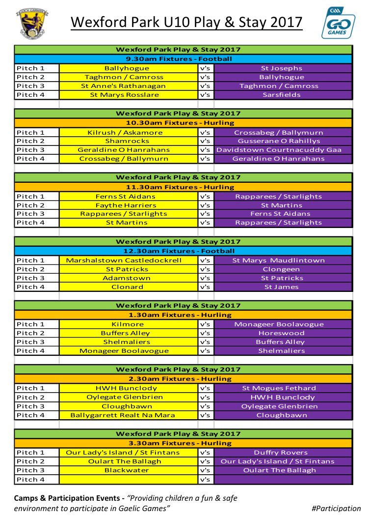 @OfficialWexGAA Wexford Park U10 Play &amp; Stay 2017 takes place this Saturday 19th #participation #gogames @GAAlearning<br>http://pic.twitter.com/XLISWmhTX3
