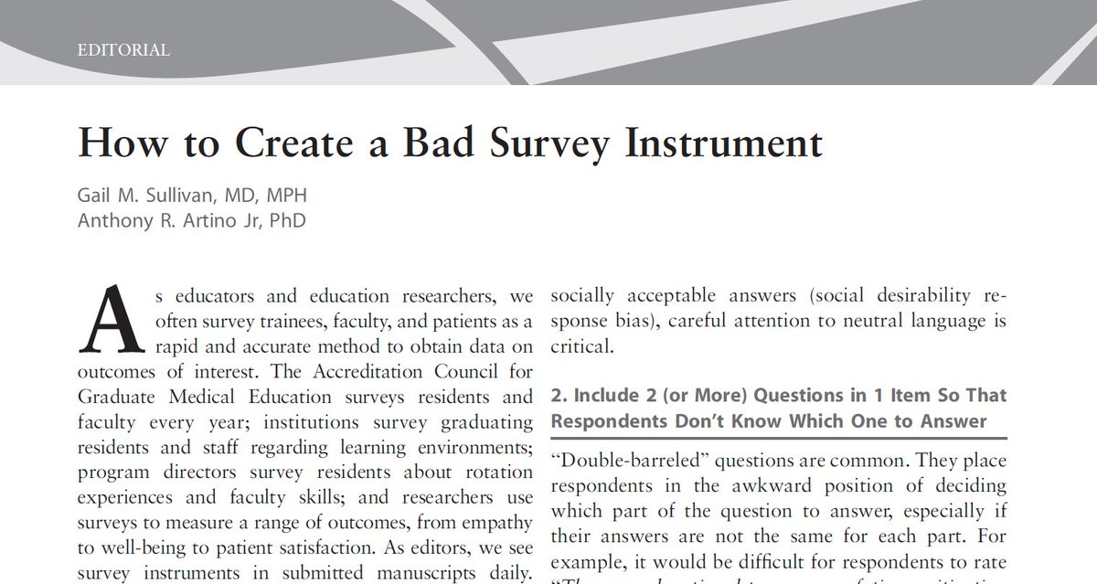 Don&#39;t get confused, this is how to create a BAD SURVEY!!  http:// bit.ly/2i3HqJt  &nbsp;   #meded #gme #hpe #survey #OA @USUhealthsci @JournalofGME<br>http://pic.twitter.com/kh9FUjFpSp
